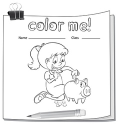 A worksheet with a girl saving her money vector image