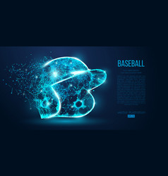 Abstract baseball helmet low poly neon wire vector