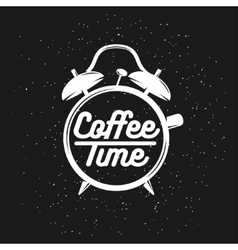 Alarm clock typography coffee related poster vector image