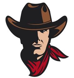 american cowboy head vector image