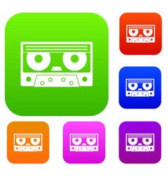 audio cassette tape set color collection vector image