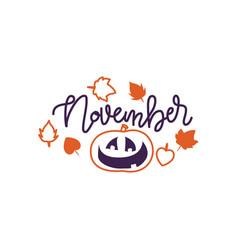 autumn lettering calligraphy phrase - hello vector image