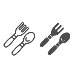baby spoon and fork line and glyph icon cutlery vector image