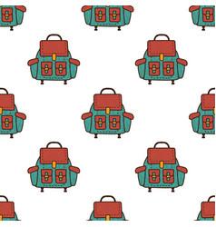 backpack flat seamless pattern rucksack symbols vector image