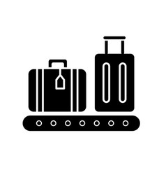 Baggage on conveyor belt flat design long shadow vector