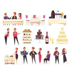 Banquet cartoon icons set vector