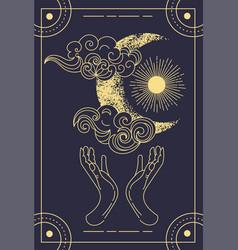 beautiful symbolic blue magical tarot card vector image