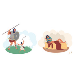 Bible stories characters flat isolated vector