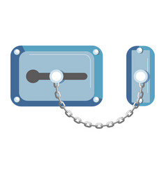 Blue old-fahioned metal lock with chain isolated vector