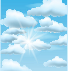 Blue sky with clouds and sun vector