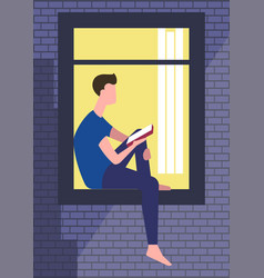 boy or man siting on window sill vector image