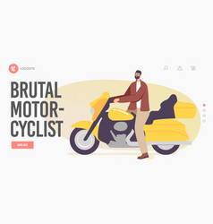 brutal motorcyclist landing page template biker vector image