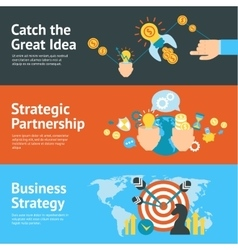 Business strategy analysis concept banners set vector image