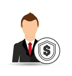Businessman character dollar shield icon vector
