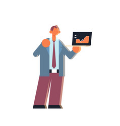 Businessman holding laptop with financial diagram vector