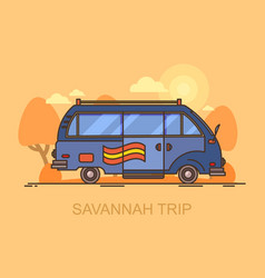 car or minivan driving through savannah safari vector image