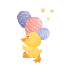 Cartoon duckling with balloons vector
