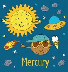 Cartoon funny mercury with sun vector