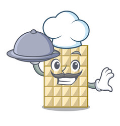chef with food white chocolate on mascot wood vector image