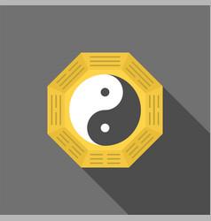 Chinese yin yang symbol with long shadow vector