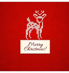 Christmas knitting background with christmas deer vector image
