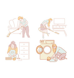 cleaning and household chores women vector image
