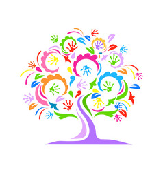 colorful background with a beautiful tree vector image