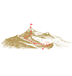 concept goal and route to peak business vector image