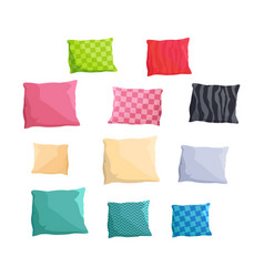 Decorative small cushions plain and with patterns vector