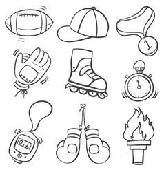 doodle of sport object various vector image