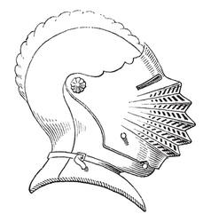 Fifteenth century helmet engraving vector