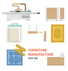 Furniture manufacture flat set vector
