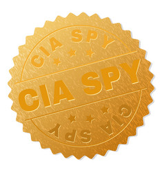 Golden cia spy badge stamp vector