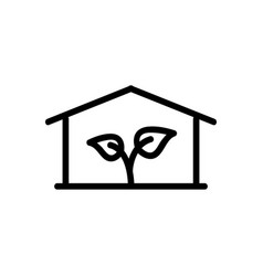 Greenhouse with flowers icon outline vector