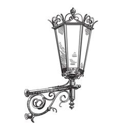 hand drawing street lantern vector image