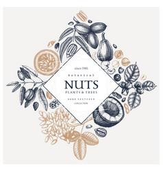 Hand drawn nut wreath design vector