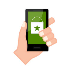 Hand holding a smartphone with an online shop app vector