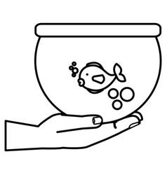 hand with fish in aquarium vector image