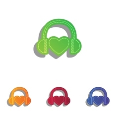 Headphones with heart Colorfull applique icons vector image