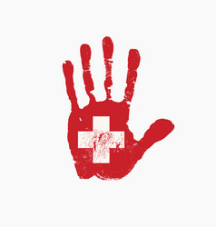 human handprint in colors swiss flag vector image
