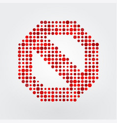 icon stop composed of small circles vector image