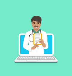 Indian man doctor online consultation concept vector