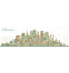 Indonesia cities skyline with color buildings vector