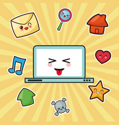 kawaii computer technology image vector image