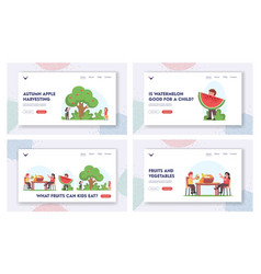 kids eating and harvesting fruits landing page vector image