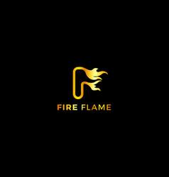 Letter f 3d golden colou fire flame creative logo vector