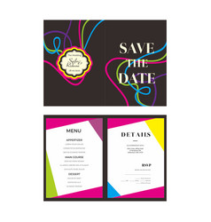 Line colorful wedding invitation template vector