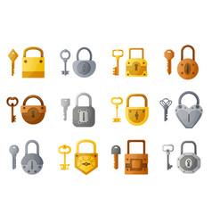 Lock and keys cartoon open and closed padlock vector