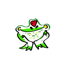 love the frog an of a cute cartoon vector image