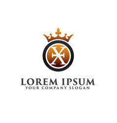 Luxury letter x with crown logo design concept vector